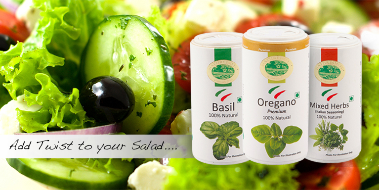 add twist to your salad  basil, oregon, mixed herbs